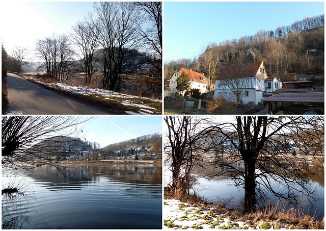 Frühlingsmorgen im Elbtal bei Pirna - minus12°C - Sonne - blauer Himmel - suno - blua ĉielo