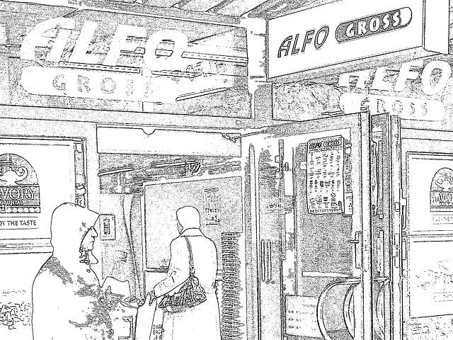 Alfo Gross tall Swedish Lady in long white pants & high-heeled Boots  /   Grande Dame Suédoise en longs pantalons blancs et Bottes à talons hauts - Helsingborg / Suède - 22 Octobre 2008- Contours noir
