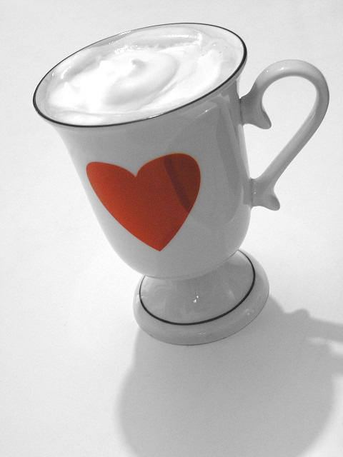 heart on a cup