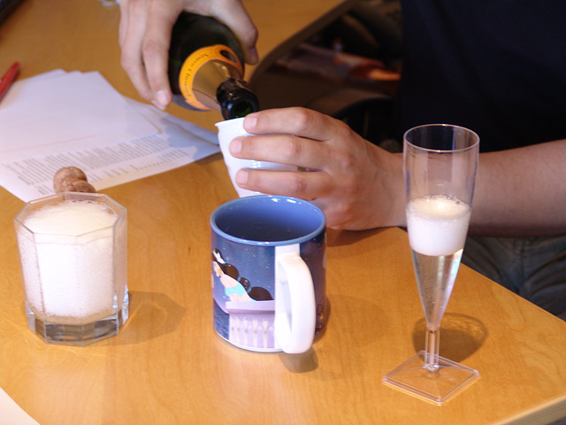 Premiers verres de champagne...