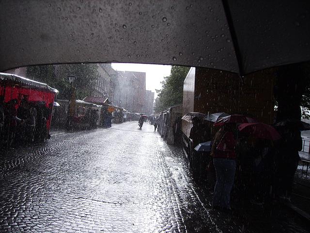 from under an umbrella