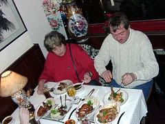 Family at asian restaurant