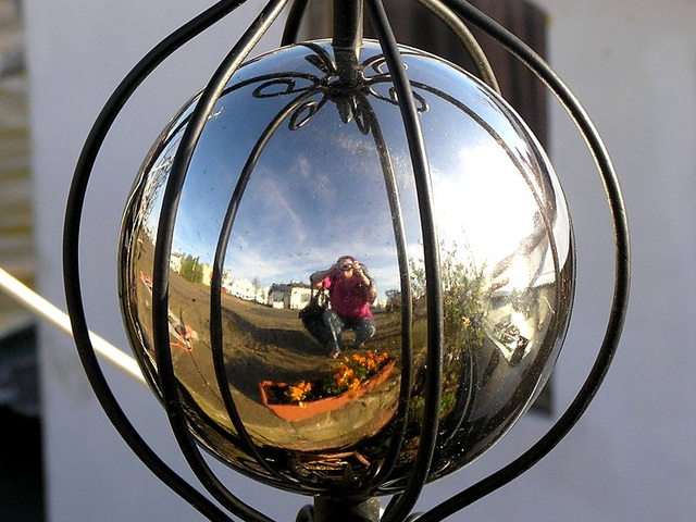 reflection in a silverball
