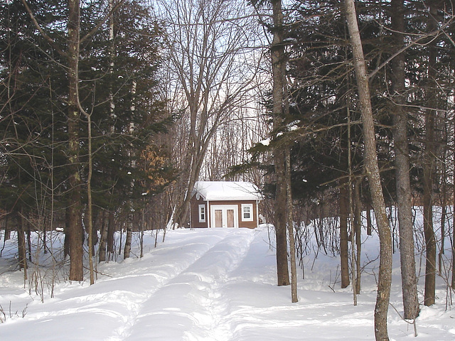 Petit chalet solitaire parmi la neige immaculée /   Small chalet among the immaculate snow - Quebec / CANADA