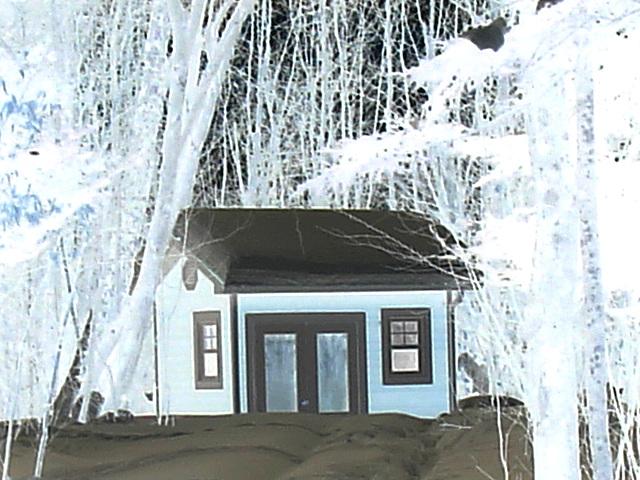 Petit chalet solitaire parmi la neige immaculée /   Small chalet among the immaculate snow - Quebec / CANADA - Effet négatif / Negative artwork with photofilter