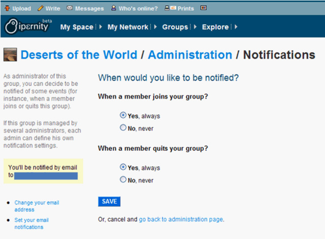 groups admin notifications
