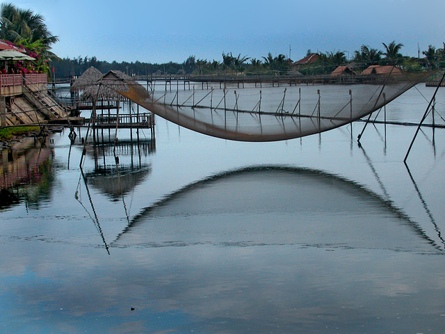 Fishing net at the Thu Bon River side