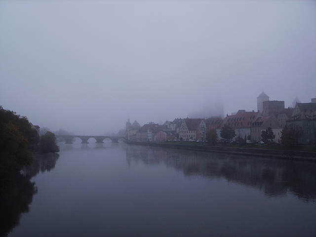 foggy view of regensburg