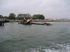 Algarve, Olhão, shipwreck at the shipyard