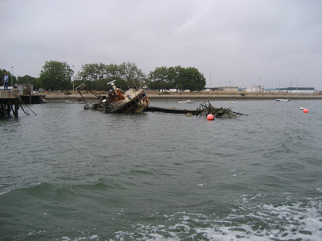 Algarve, Olhão, shipwreck at the shipyard