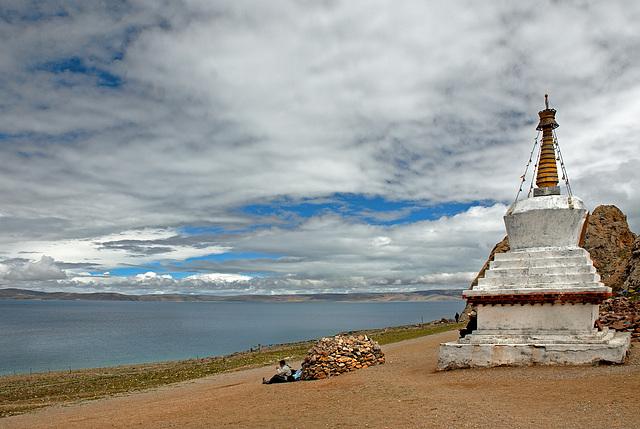 Stupa at the Namtso Lake Tibet