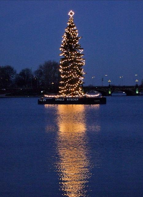 Weihnachtsbaum auf der Alster in Hamburg