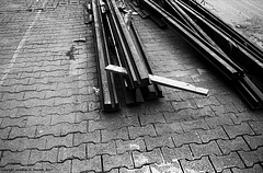 Tram Rails, Black & White Version, Albertov, Prague, CZ, 2007