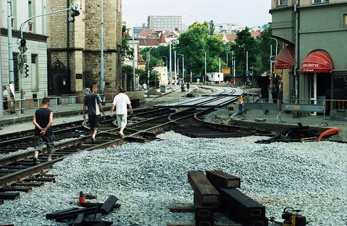 Tram Track Reconstruction, Picture 2, Albertov (Nadrazi Vysehrad), Prague, CZ, 2007