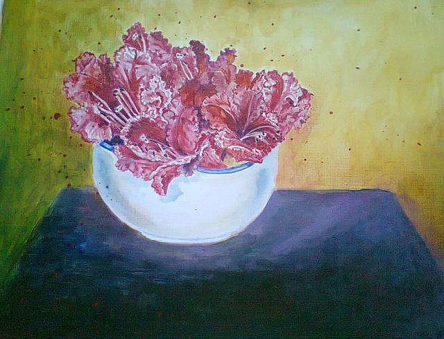 Fleurs dans un bol- acrylic on paper - 2013
