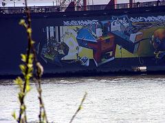 Graffiti on dock, Lèon and Chicago