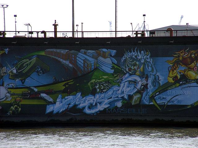 Graffiti on dock. St.Petersburg and Marseille