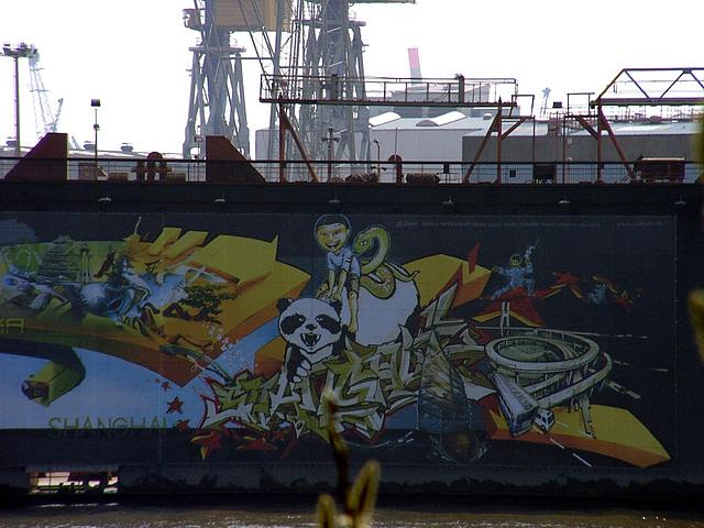 Graffiti on dock. Shanghai