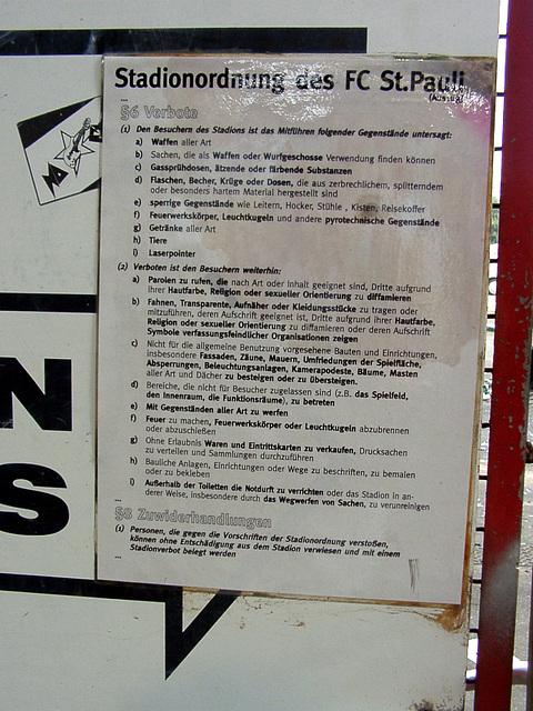 Stadionordnung des FC St. Pauli (Auszug)