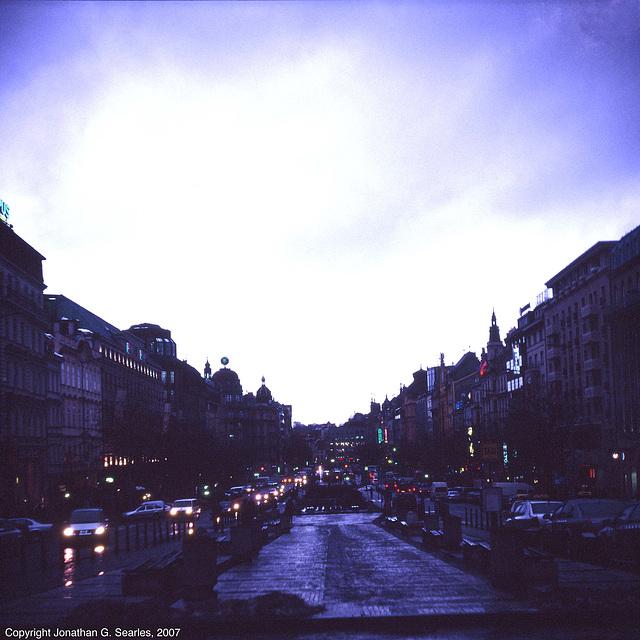 Vaclavske Namesti In The Rain, Prague, CZ, 2007