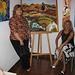 Espaço AmArte, painter Micéu (left) exhibition with Maria da Nazaré, gallery director