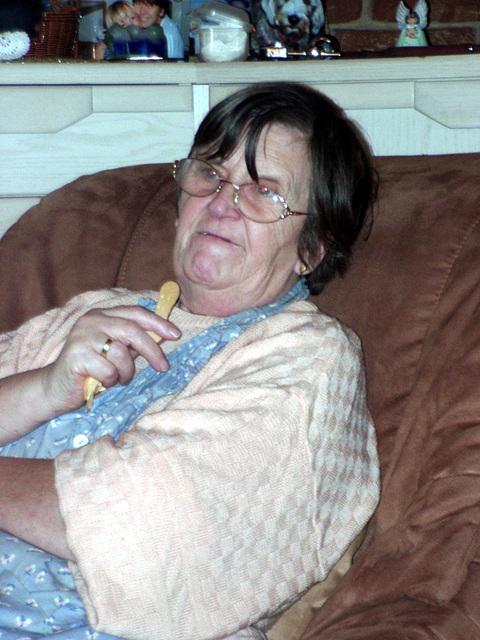 Grandma eats icecream