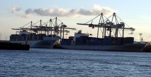 Containerschiff vor Krahn