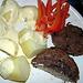 Paprika, meatballs, potatoes and sauce hollondaise
