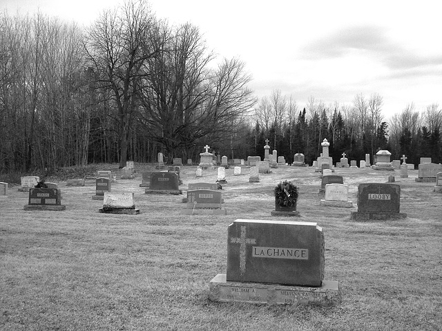 Immaculate heart of Mary cemetery - Churubusco. NY. USA.  March  29th 2009-  B & W