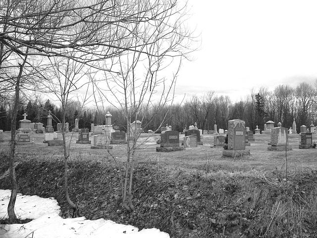 Immaculate heart of Mary cemetery - Churubusco. NY. USA.  March  29th 2009 -  B & W
