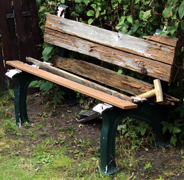 A bench. Destructed