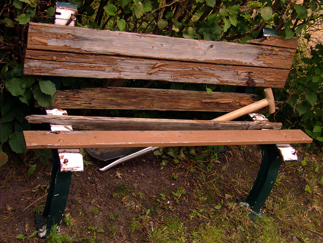 A bench. Destructed