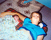 Me sleeping nearby Pierre (Summer 1986)