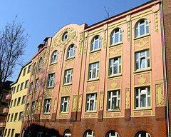 Old building with renovated front