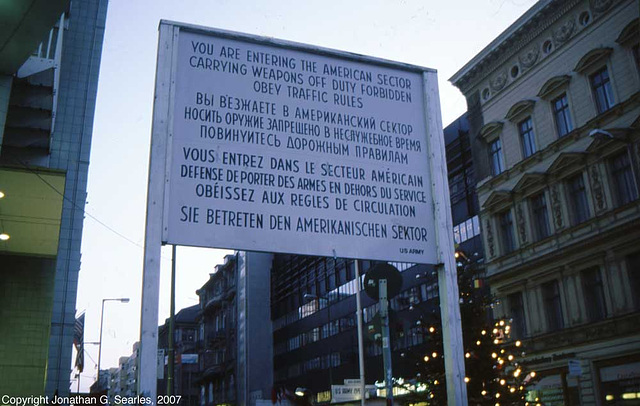 Checkpoint Charlie Sign, Berlin, Germany, January 2007