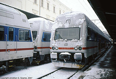 Class 471 and 971(?) EMUs In The Snow, Masarykovo Nadrazi, Prague, CZ, 2007