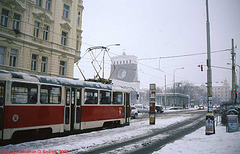 DPP #7079 In the Snow At Jiriho z Podebrad, with Kostel Nejsvetejsiho Srdce Pane in the background, Prague, CZ, 2007