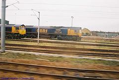 GBRf #66714 & 66711, unknown location KX-Peterborough, England(UK), 2007