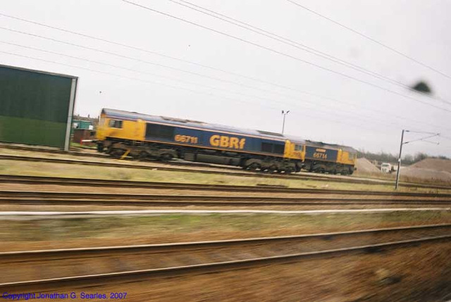 GBRf # 66714 & 66711, Picture 2, unknown location KX-Peterborough, England(UK), 2007