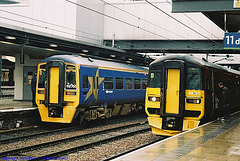 Northern Trains #s 158756 & 158737, Leeds New Station, Leeds, West Yorkshire, England(UK), 2007