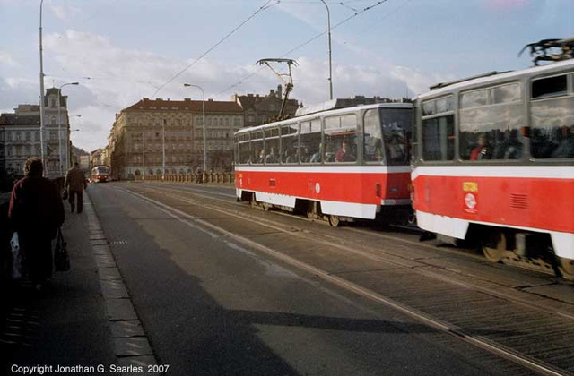 T6A5 And T3 Trams Meet On Palackeho Most, Prague, CZ, 2007