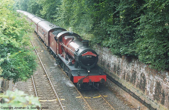 """ex-GWR #5972 """"Olton Hall"""" Hauling """"The Wizard Express"""" Into York, North Yorkshire, England(UK), 2003"""