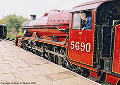 "ex-LMS #5690, ""Leander"" at Bury, East Lancashire, England(UK), 2003"
