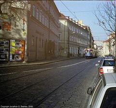Lomo 135BC Action Shot Of Trams On Ujezd, Shot 1, Prague, CZ, 2006