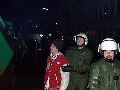 Arrested demonstrant