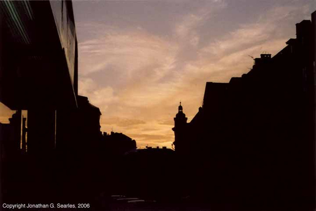Sunset, Rytirska, Prague, CZ, 2006