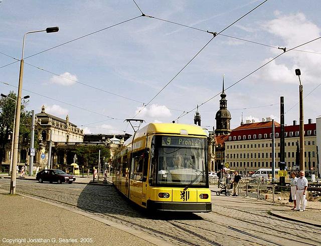 Bombardier NGT8DD Tram, Postplatz, Dresden, Sachsen (Saxony), Germany, 2005