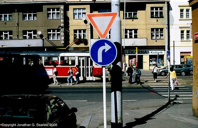 Tram at U Kastanu stop, Prague, CZ, 2006