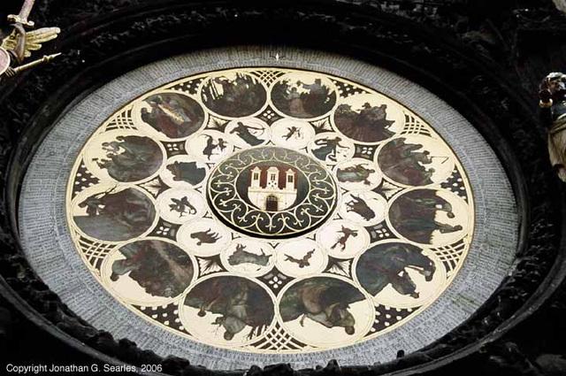 Prazky Orloj, Lower Dial Detail, Prague, CZ, 2006