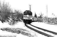 "Amtrak Train #69, the ""Adirondack"" Arriving in Plattsburgh, NY, USA, 1998"